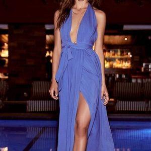 PERIWINKLE BLUE WRAP MAXI DRESS